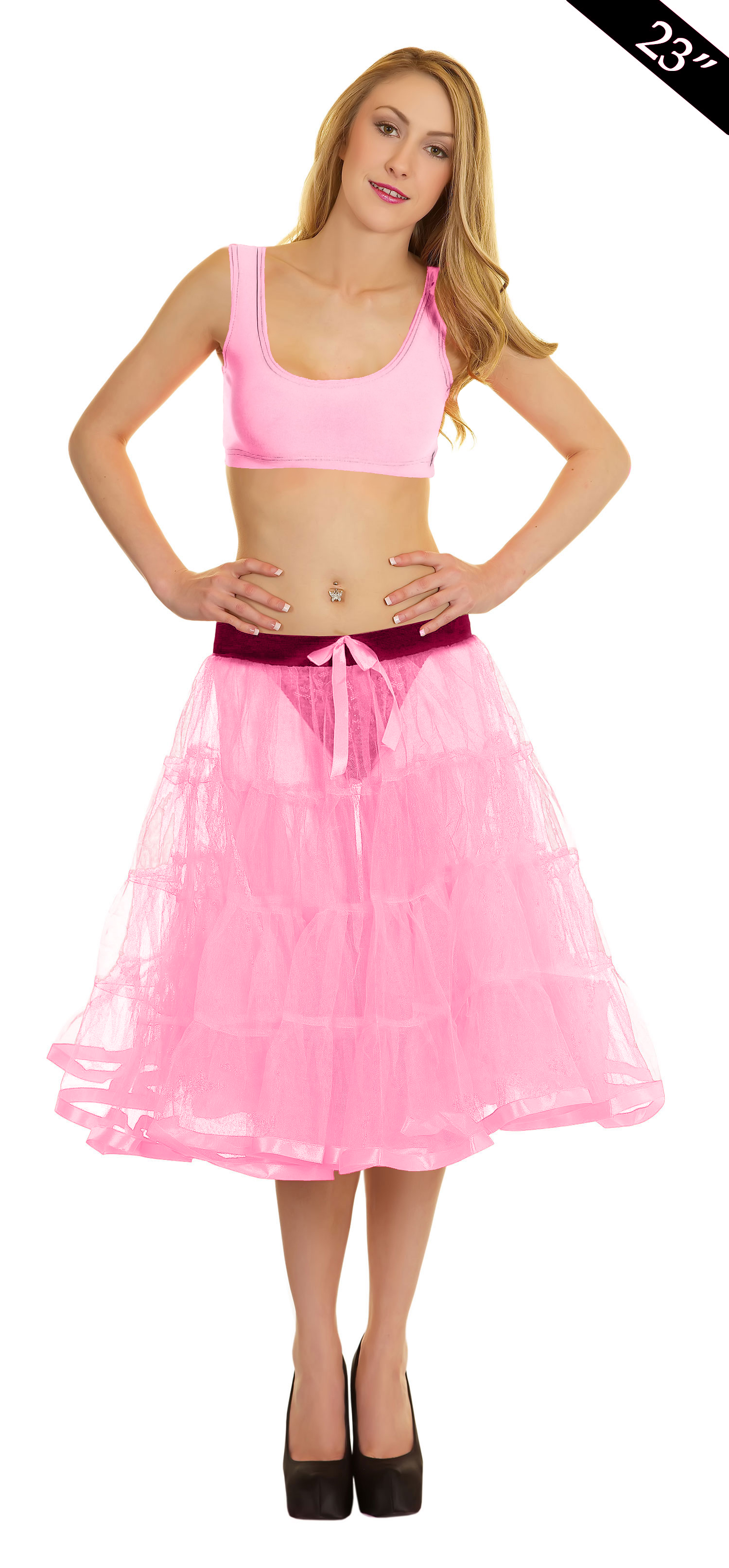 Crazy Chick 4 Tier Petticoat with Ribbon baby Pink TuTu Skirt (Approximately 23 Inches Long)
