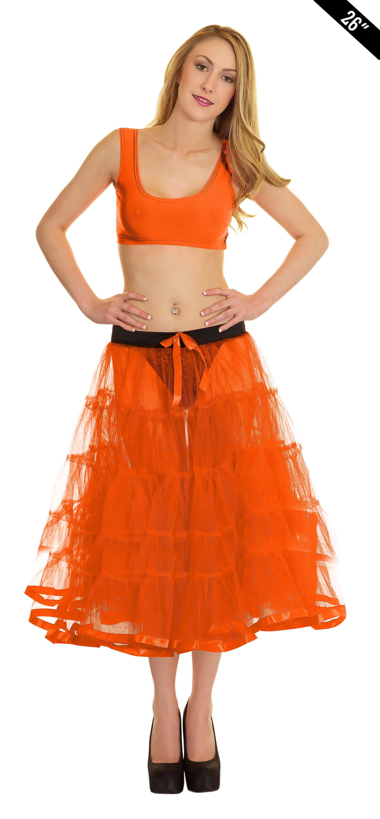 Crazy Chick 5 Tier Petticoat with Ribbon Orange TuTu Skirt (Approximately 26 Inches Long)