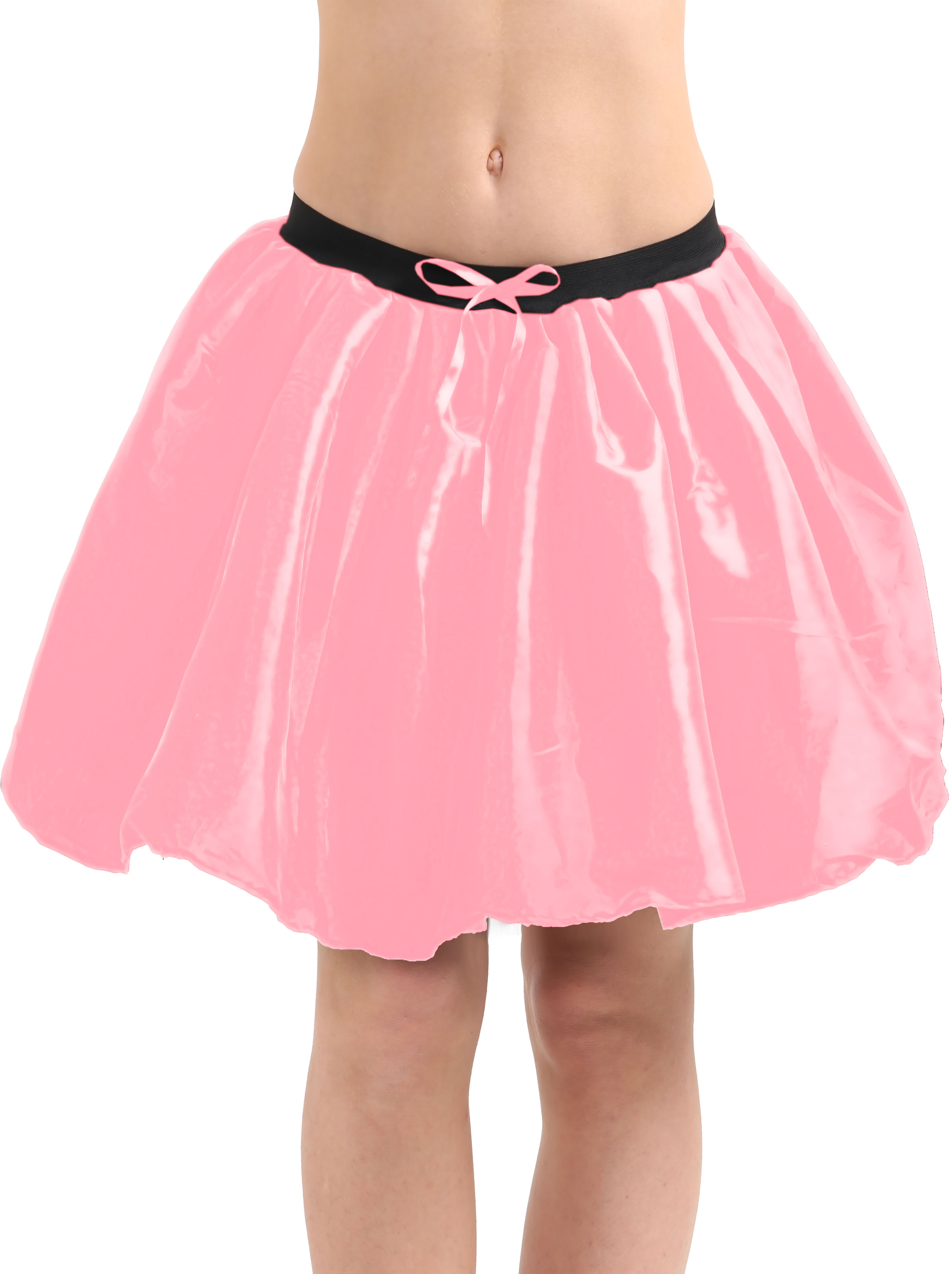 Crazy Chick 3 Layers Baby Pink Satin TuTu Skirt (Approx 18 Inches Long)