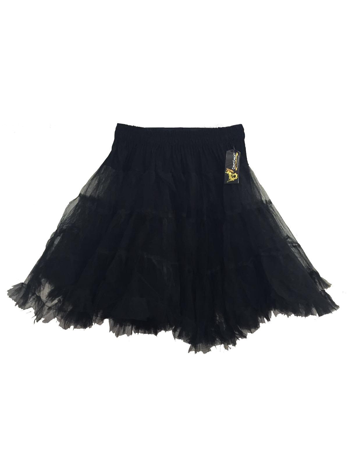 Crazy Chick Black Dance Ruffle Petticoat skirt (18 Inches Long)