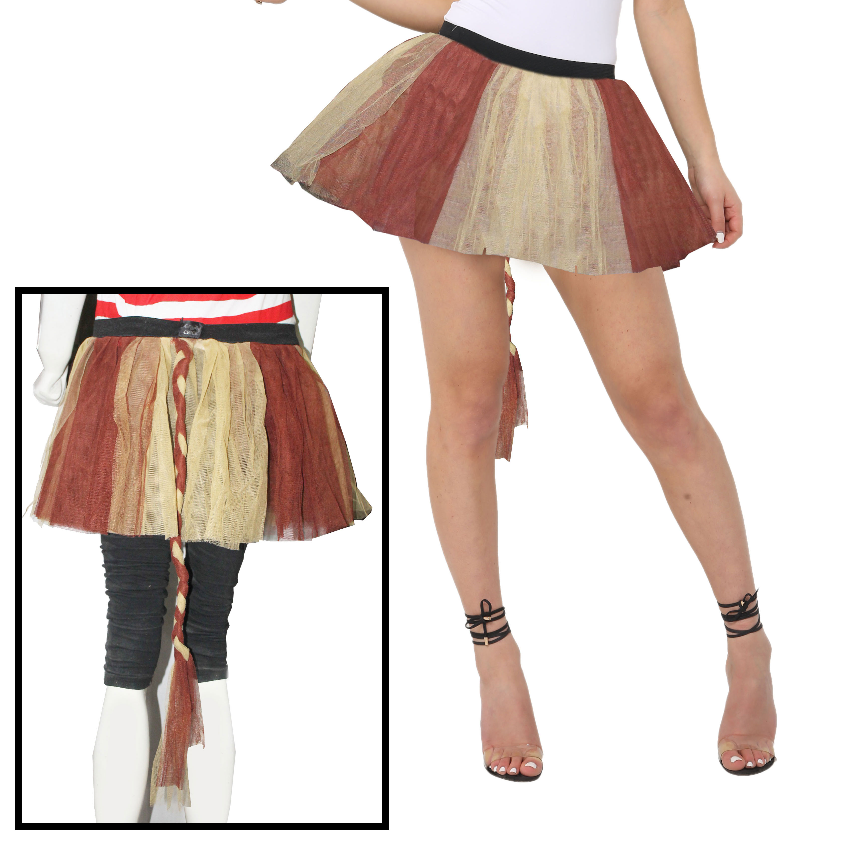 Crazy Chick Girls 3 Layers Plain Golden Brown TuTu Skirt With Tail