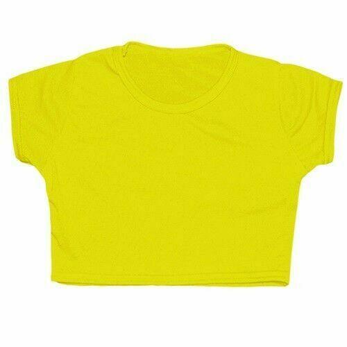 Crazy Chick Girls Microfiber Yellow Crop Top