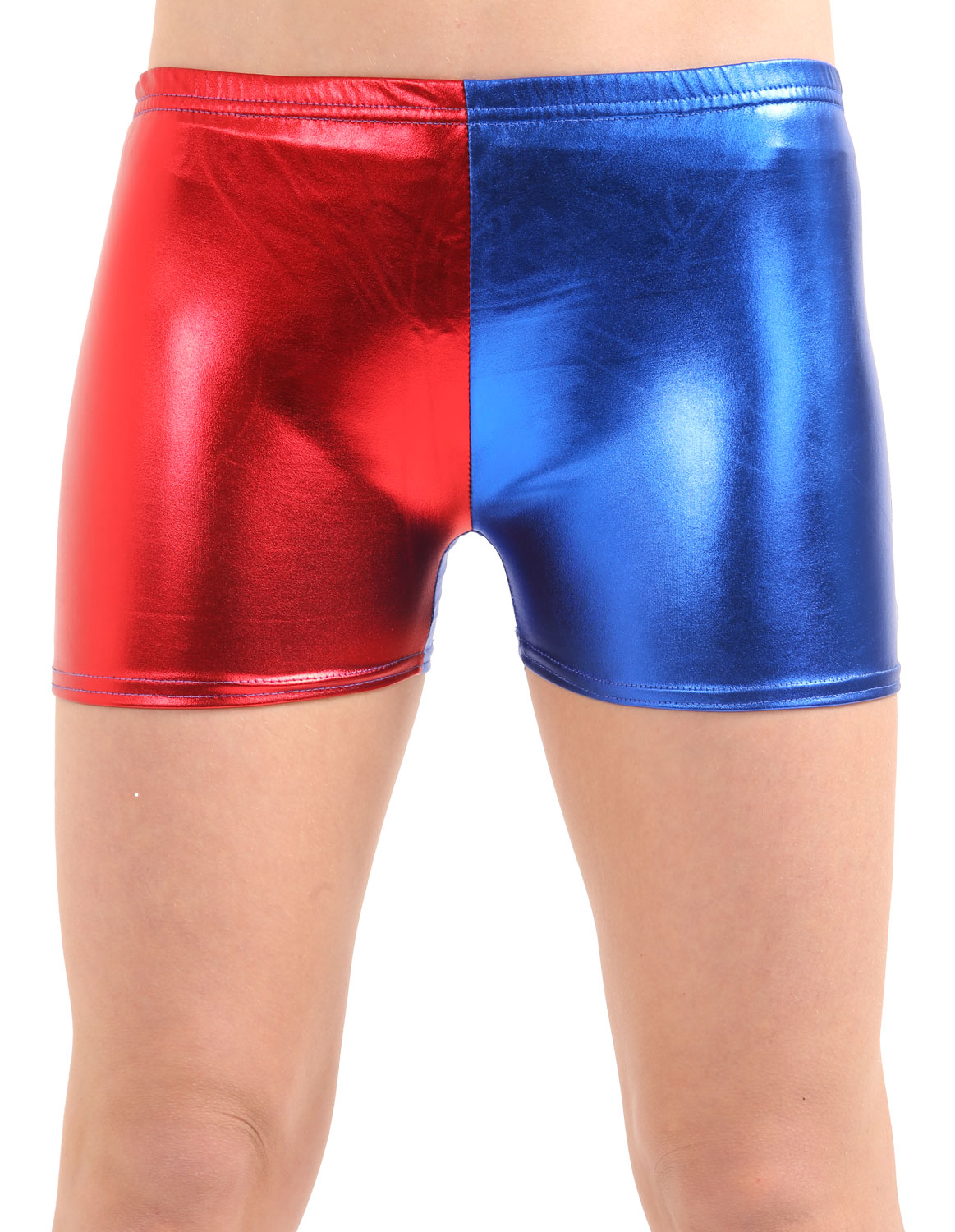 Crazy Chick Girls Shiny Metallic Red Blue Hot Pants