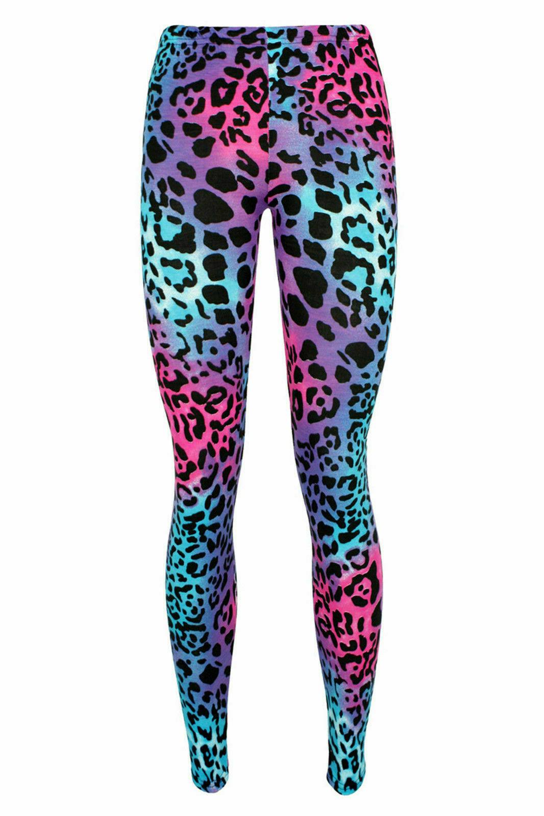 Crazy Chick Girls Microfiber Leopard Print Pink /Blue Leggings