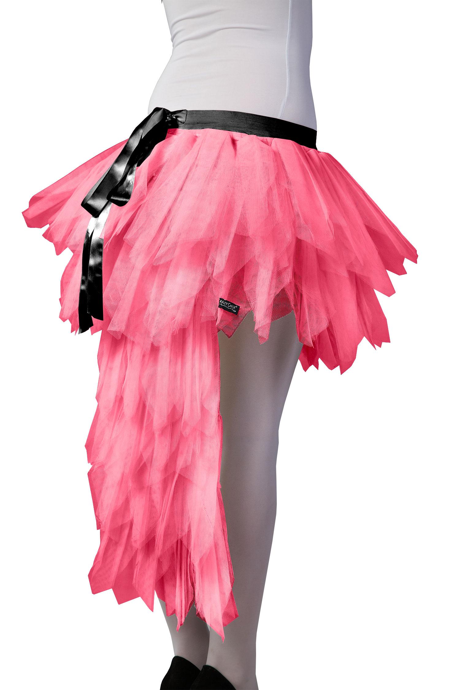 Crazy Chick Pink Long Tail Burlesque TuTu Skirt