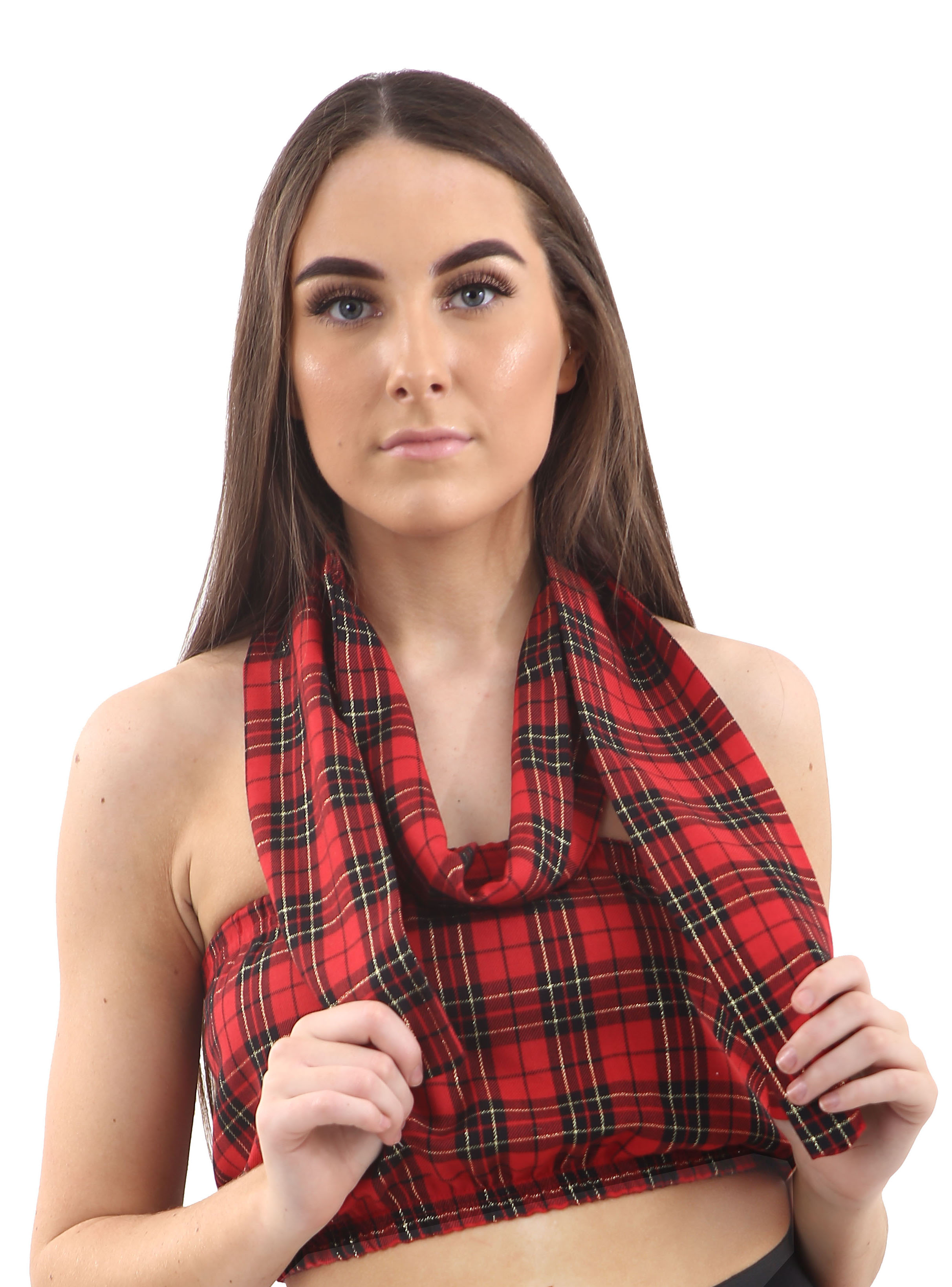 Crazy Chick Red Tartan Boob Tube
