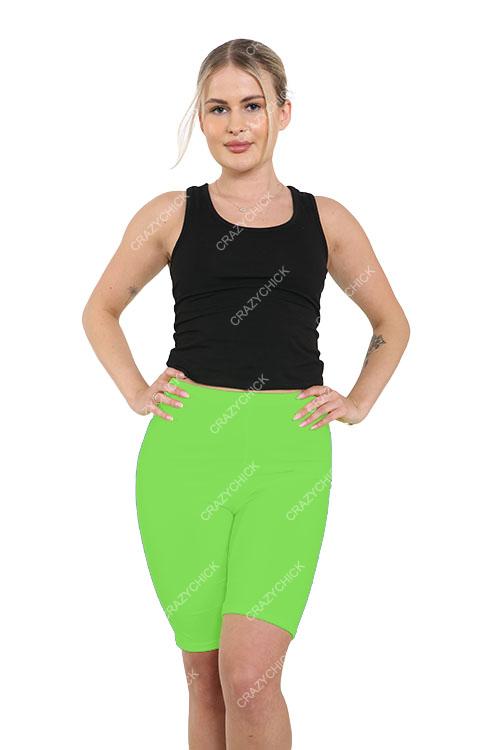 Crazy Chick Women Green Microfibre Cycling Shorts