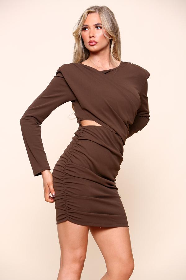 Cut Out Wrap Mini Dress Brown