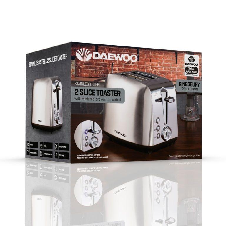 Daewoo Kingsbury Stainless Steel Dial Toaster - 2 Slice