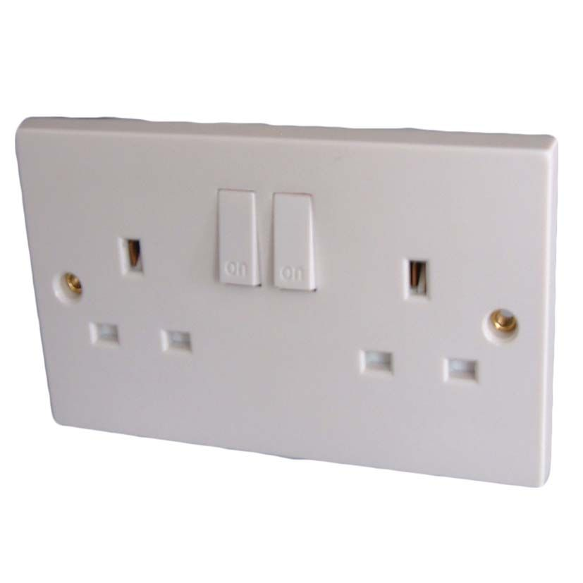 Dencon 13A, Twin Switched Socket Outlet to BS1363 - Pre-Packed