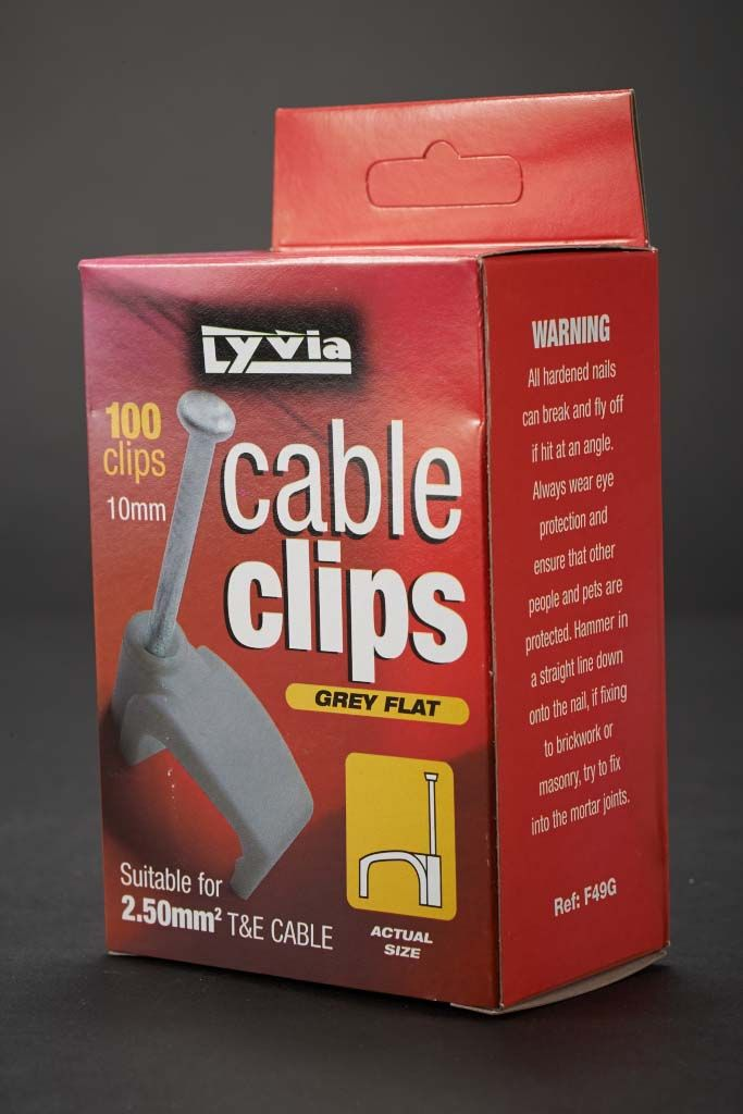 Dencon Grey Flat Cable Clips 10mm - Box 100