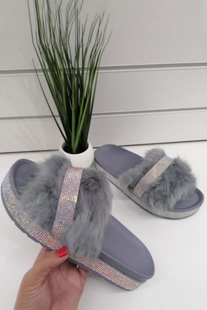 Diamante Faux Fur Slider Grey