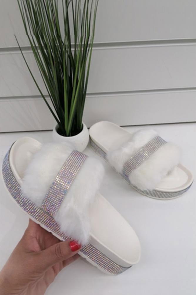 Diamante Faux Fur Slider White