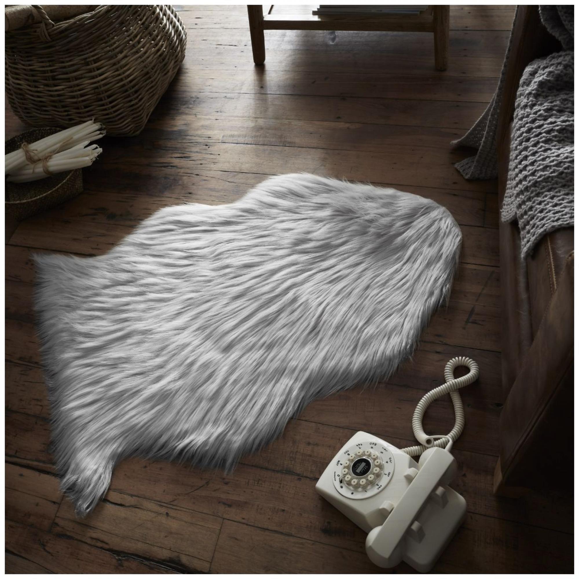 FAUX FUR SHEEP RUG 60X90 SILVER 6468