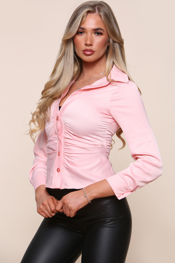 Fitted Ruched Front Shirt Pink
