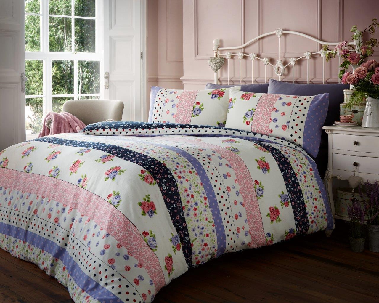 flannel duvet set vintage floral multi
