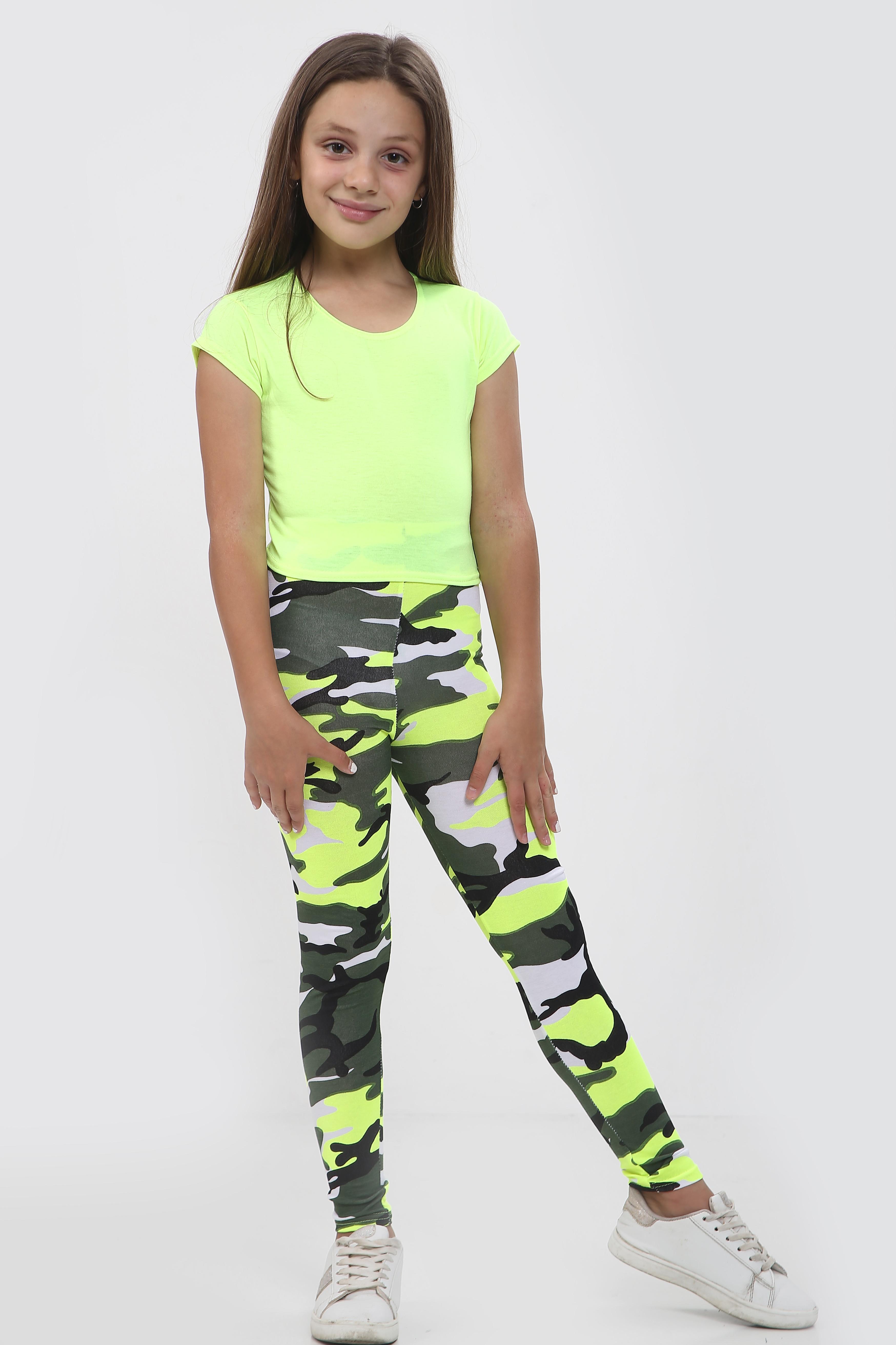 Girls Yellow Crop Top & Camouflage Trouser Set