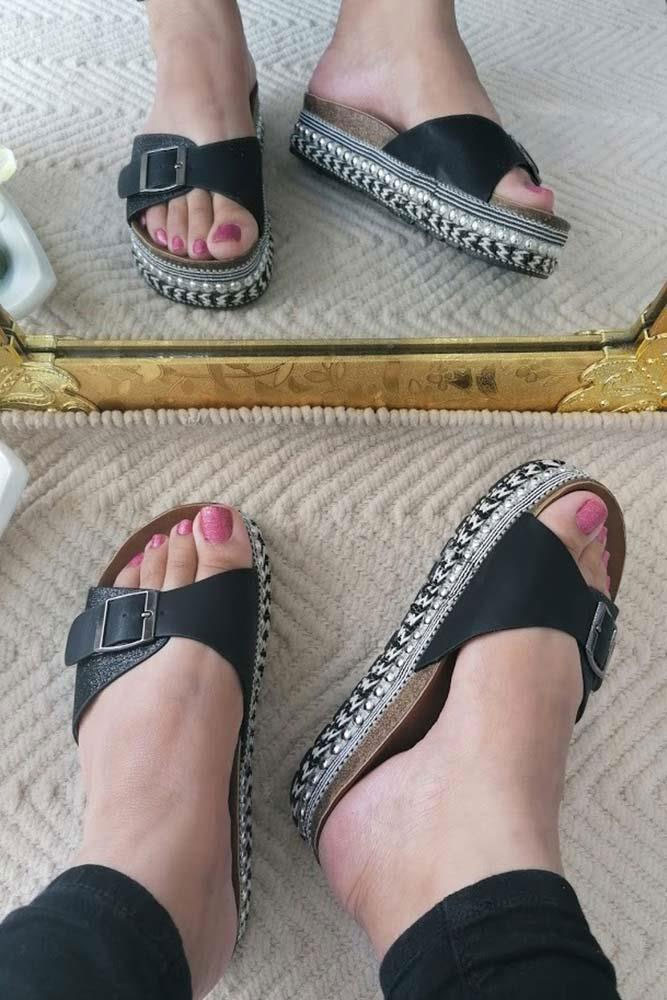 Glitter Top Lace Sole Sliders Black