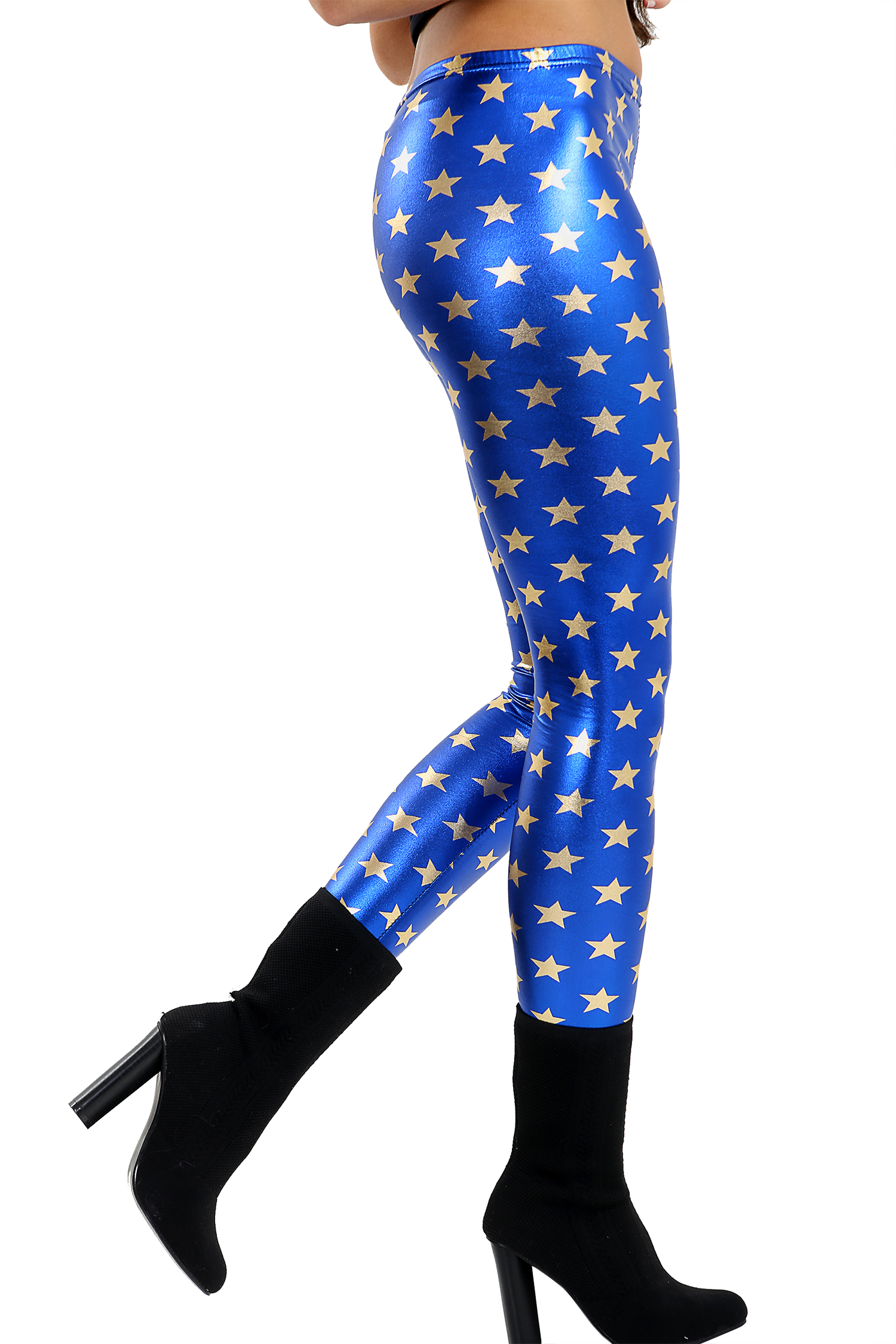 Gold Star With Blue Shiny Metallic Leggings