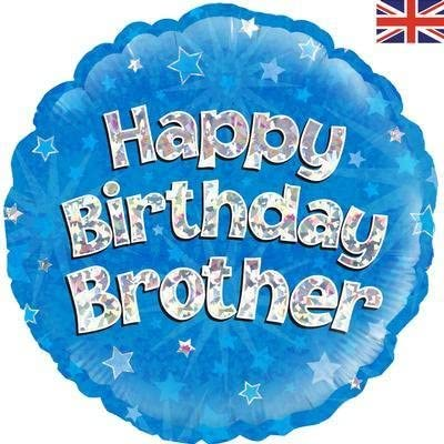 Happy Birthday Brother Blue Holographic Balloon (18 Inches)