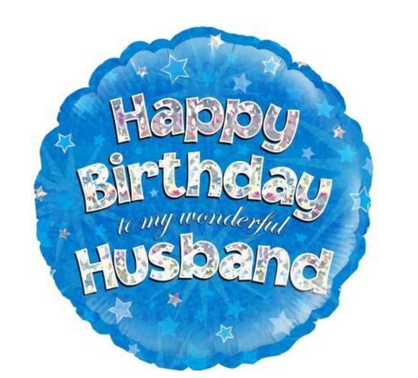Happy Birthday Husband Blue Holographic Balloon (18 Inches)