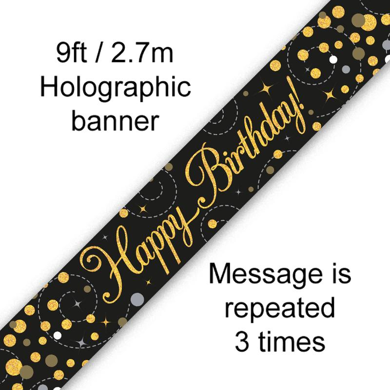Happy Birthday Sparkling Fizz Black & Gold Holographic Banner (9ft)
