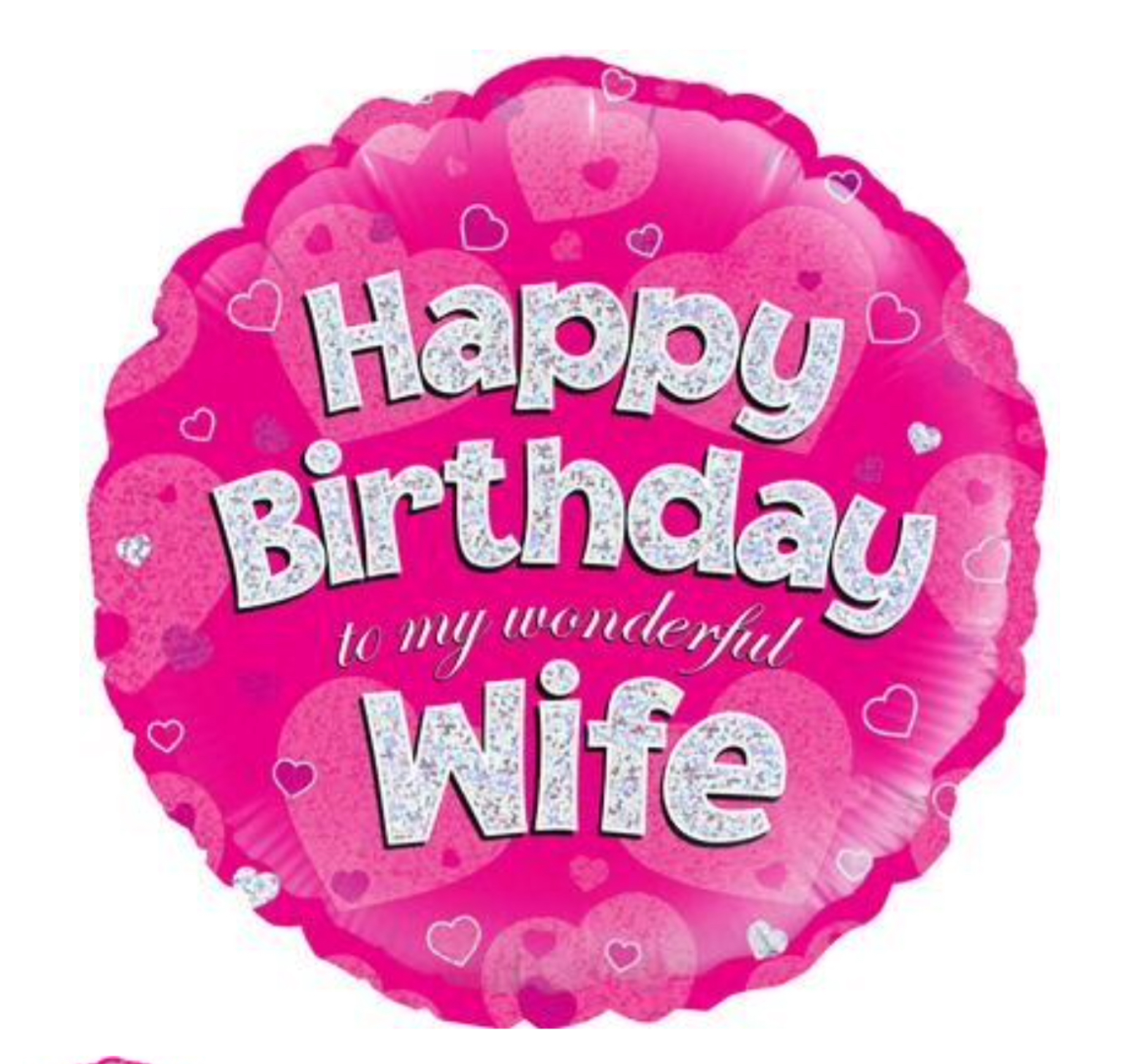 Happy Birthday Wife Pink Holographic Balloon (18 Inches)