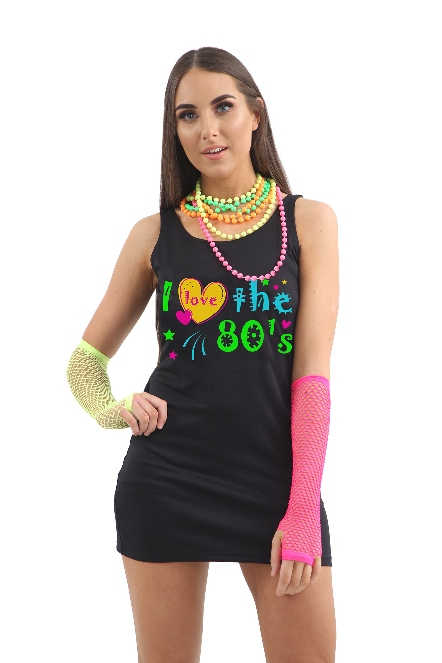 I Love The 80s Black Cotton Dress