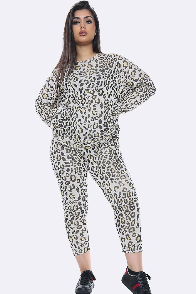 Italian Cheetah Print Loungewear Set Yellow