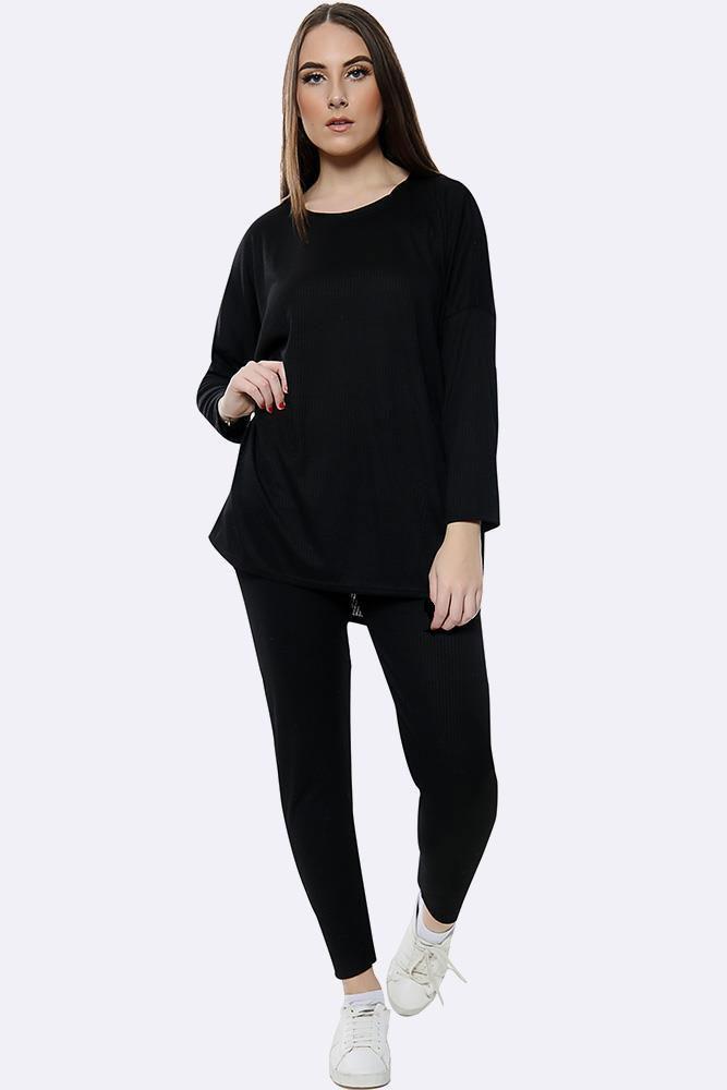 Italian Knitted Plain Long Sleeve Tracksuits Black