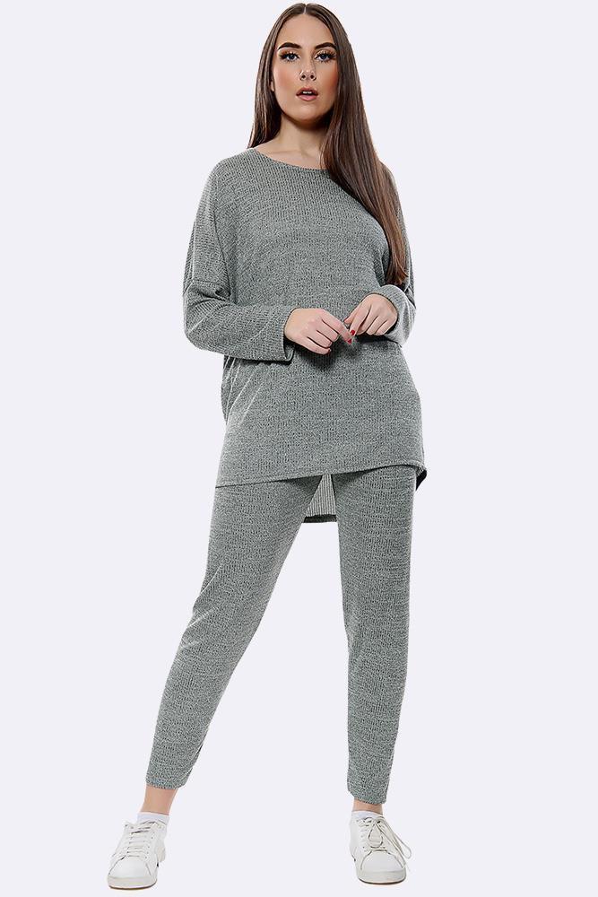Italian Knitted Plain Long Sleeve Tracksuits Dark Grey