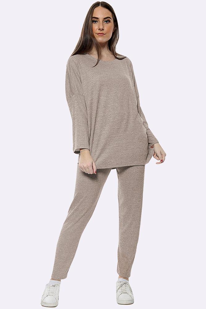 Italian Knitted Plain Long Sleeve Tracksuits Mocha