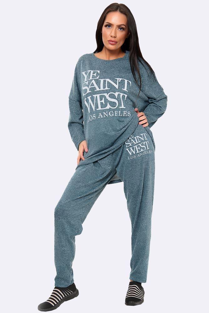 Italian Marl Ye Saint West Loungewear Set Teal