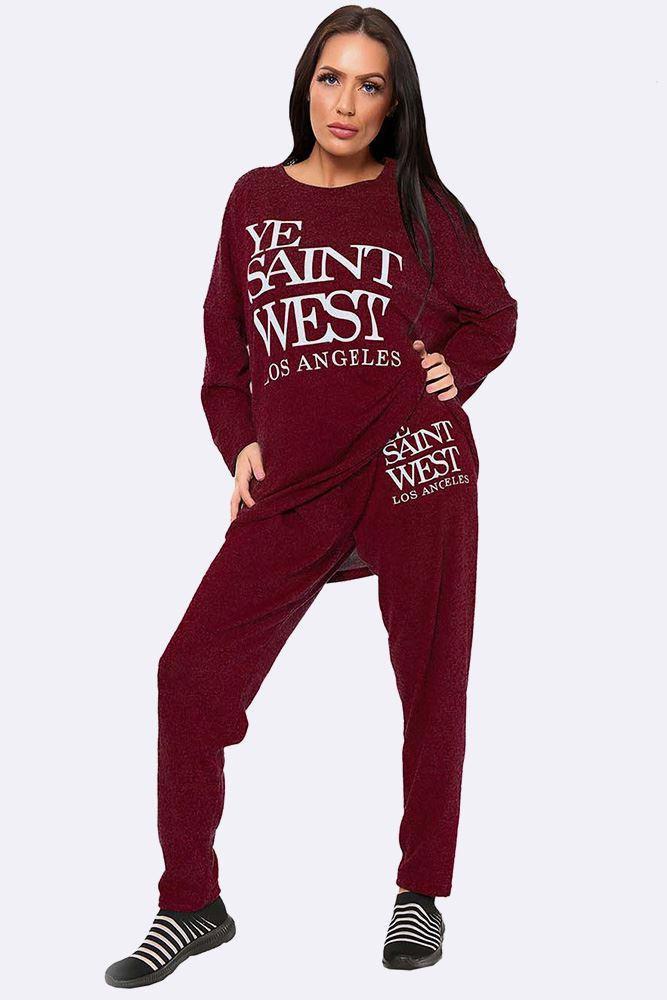 Italian Marl Ye Saint West Loungewear Set Wine