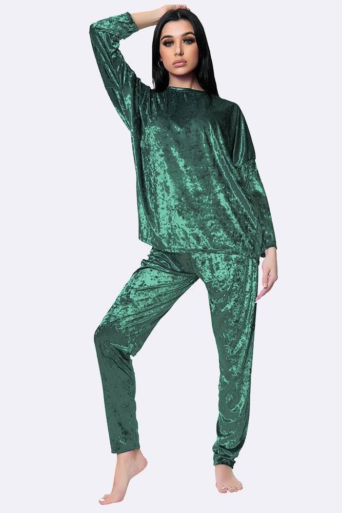 Italian Plain Velvet Loungewear 2 Pcs Bottle Green