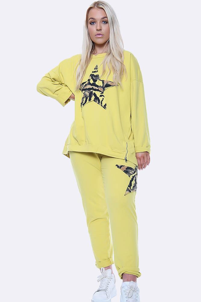 Italian Side Zip Camo Print Star Motif Loungewear Yellow