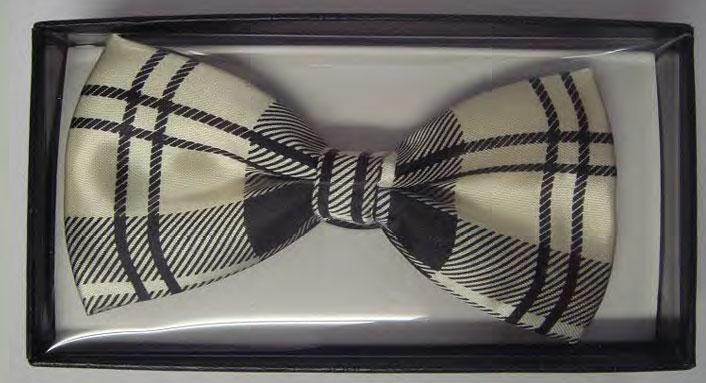 Ivory Cotton Tartan Bow Tie in Gift Box