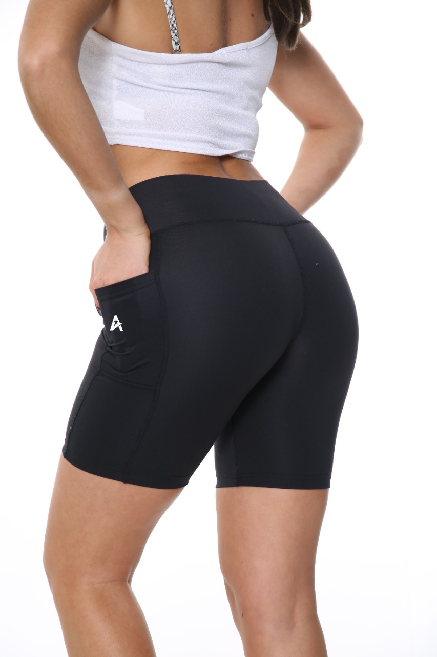ACTIVE STAR Ladies Activewear High Waist Gym Black Cycling Shorts