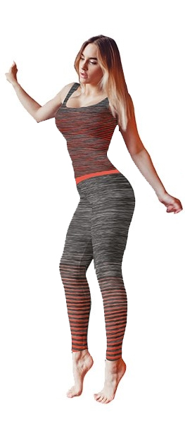 Ladies Activewear Orange Legging Vest Top Set