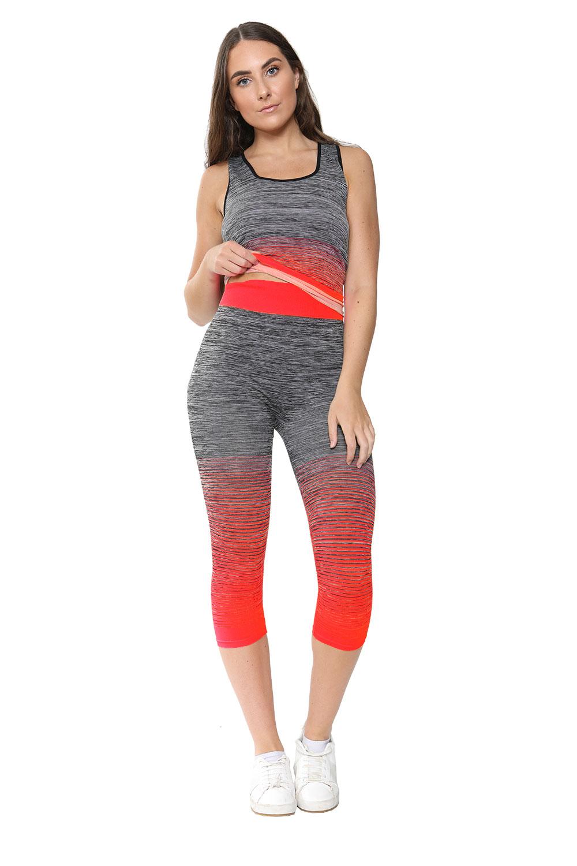 Ladies Activewear Orange Leggings Vest Top Set