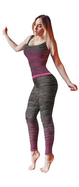 Ladies Activewear Pink Legging Vest Top Set