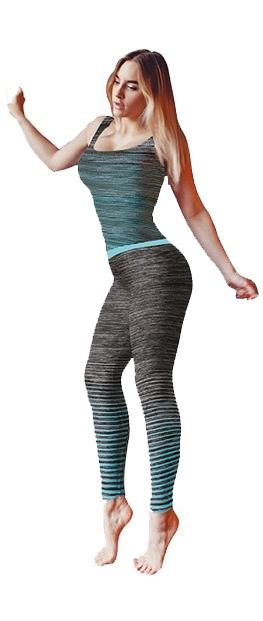 Ladies Activewear Turquoise Leggings Vest Top Set