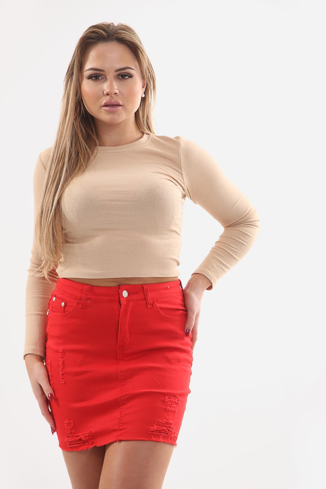 LADIES HIGH WAISTED RED SKIRT