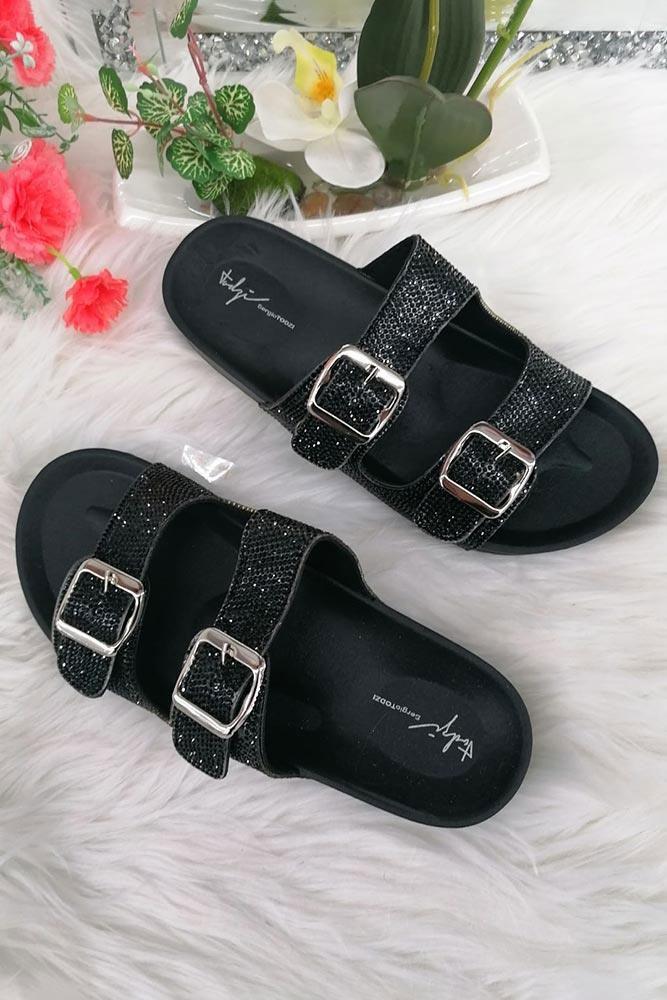 Ladies Metallic Diamante Buckle Sliders Black