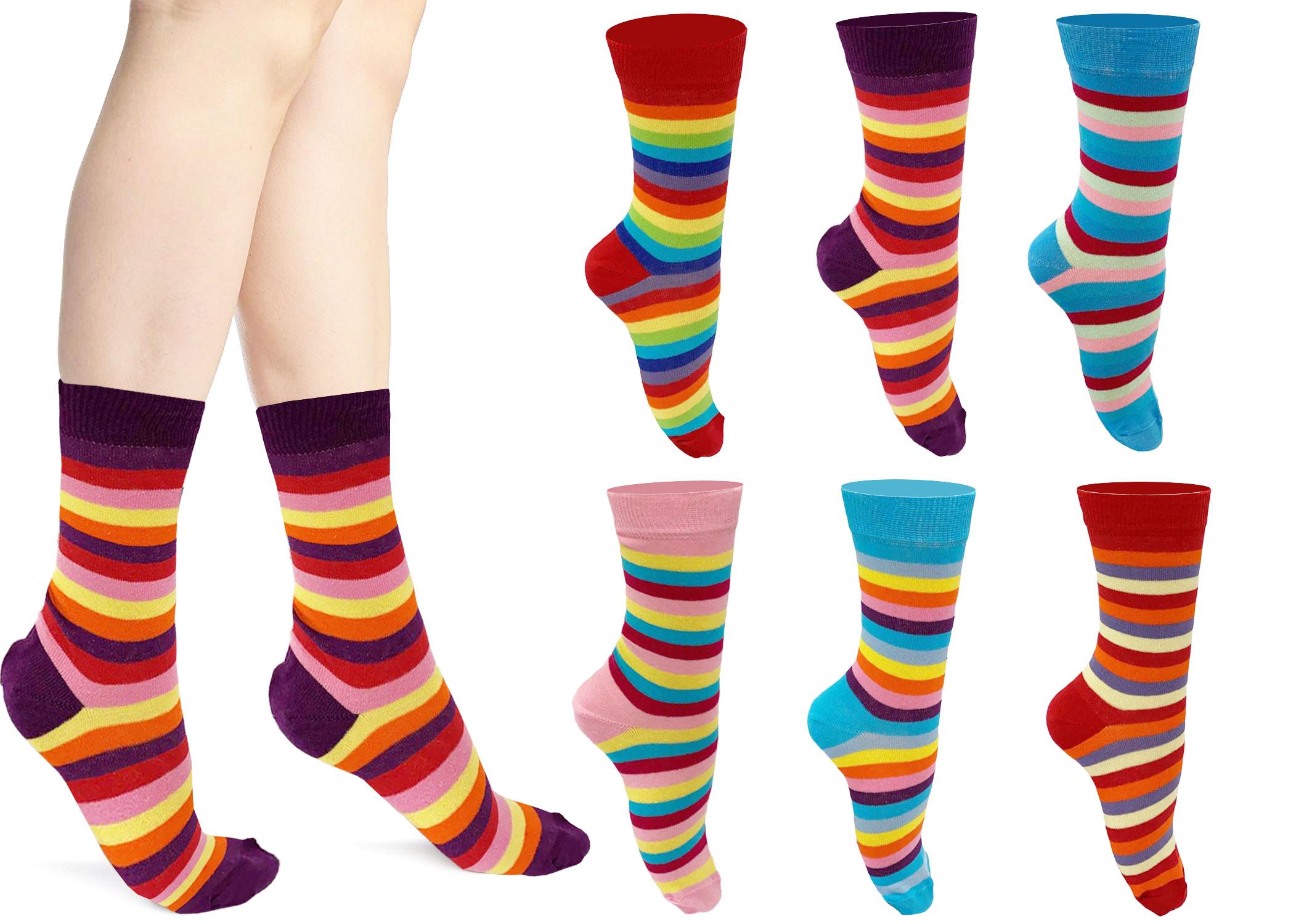 Ladies Multi Colors Stripe Ankle Socks(12 Pairs)