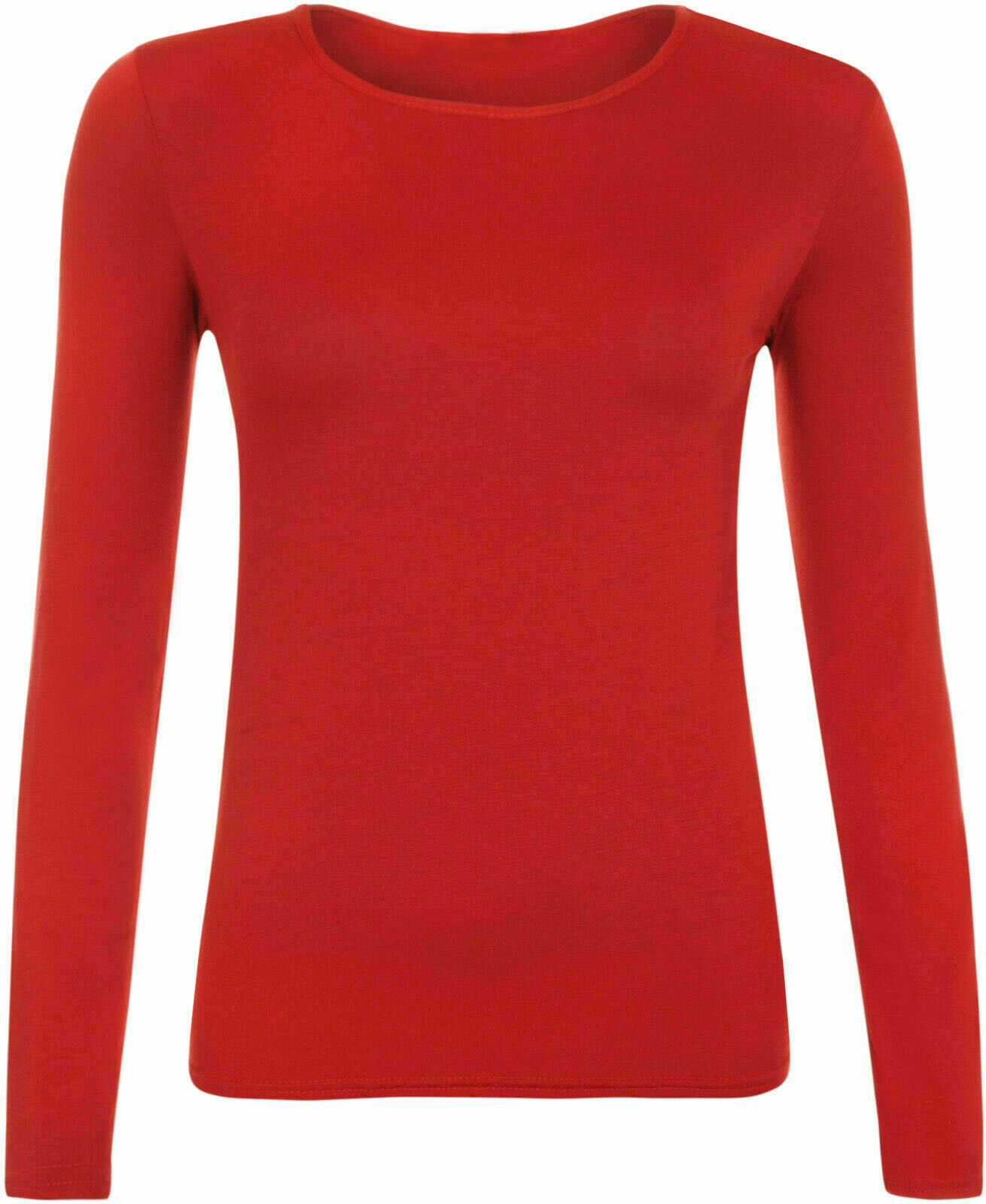 Ladies Plain Red Long Sleeve Round Neck Stretch T-Shirt