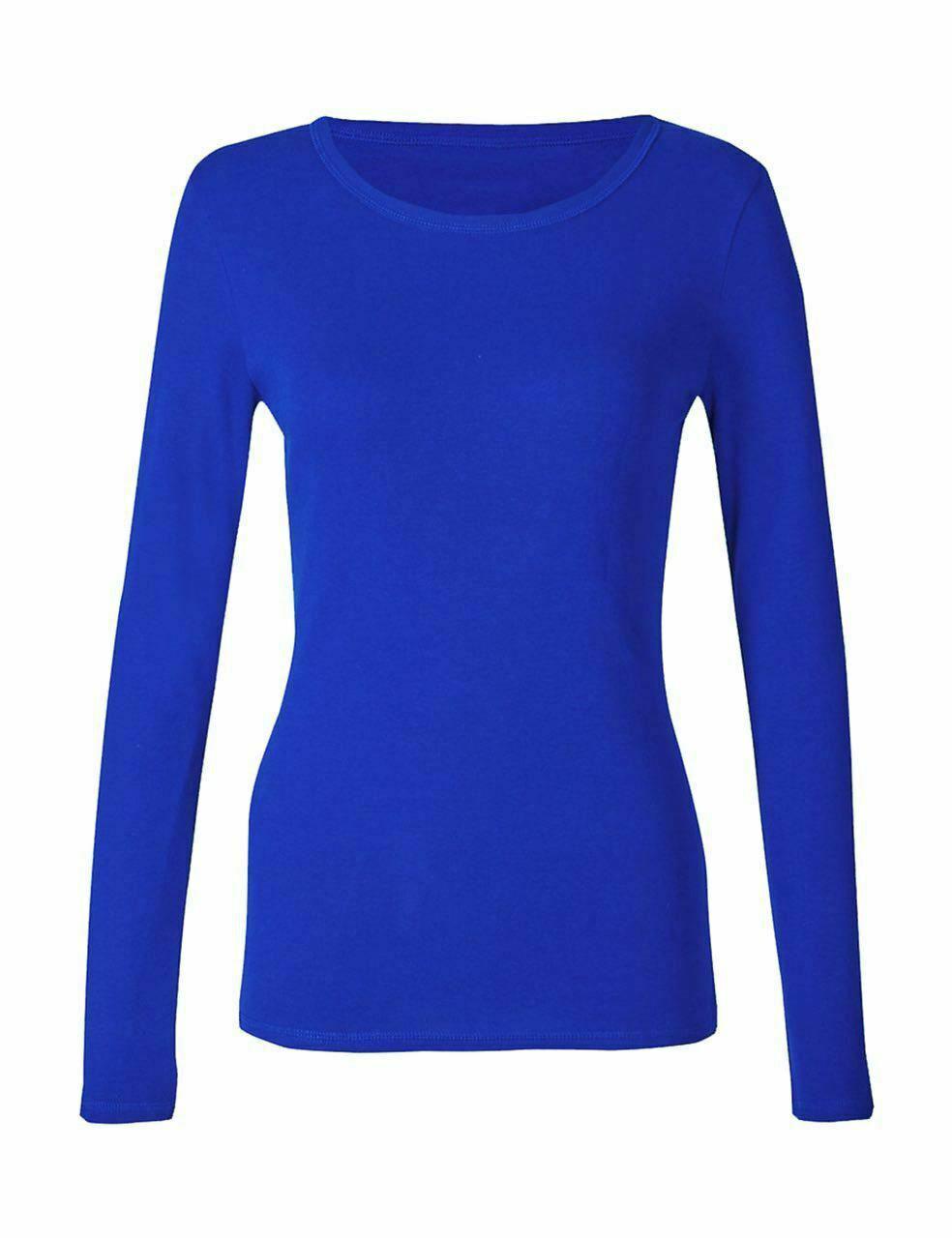 Ladies Plain Royal Blue Long Sleeve Round Neck Stretch T-Shirt