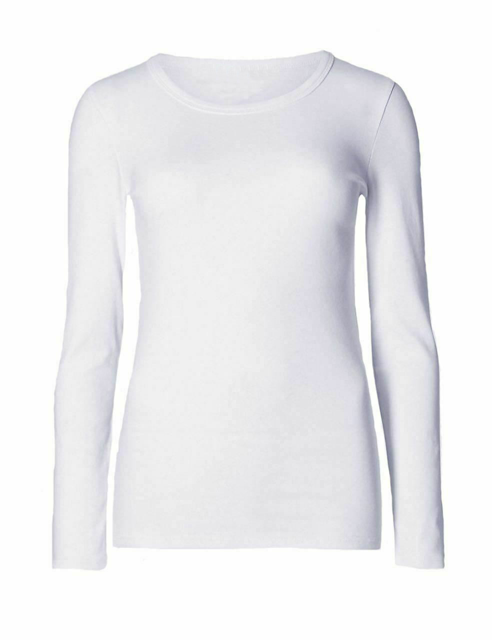 Ladies Plain White Long Sleeve Round Neck Stretch T-Shirt