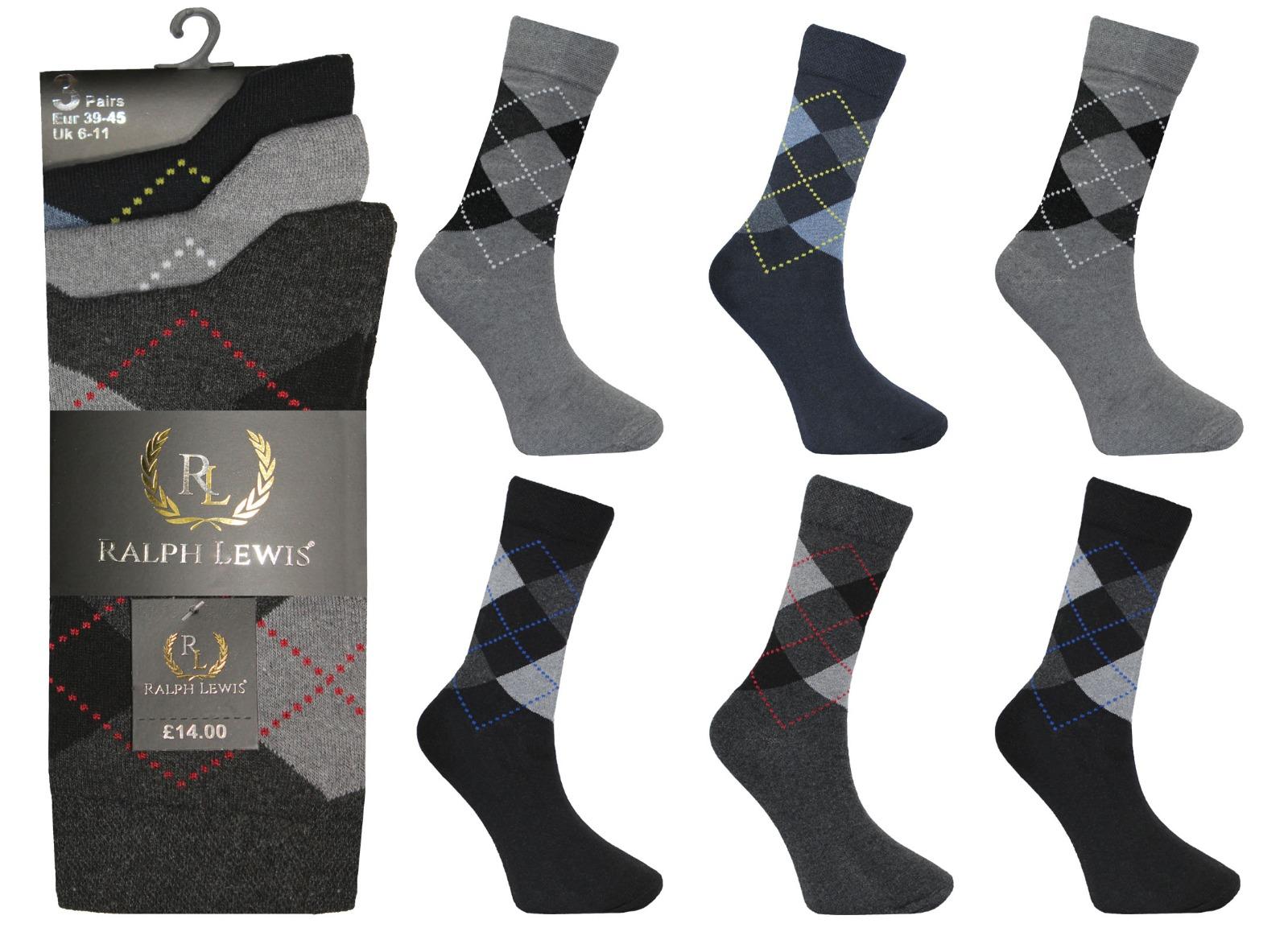 Mens Ralph Lewis Dark Argyle Diamond Cotton Socks(12 Pairs)