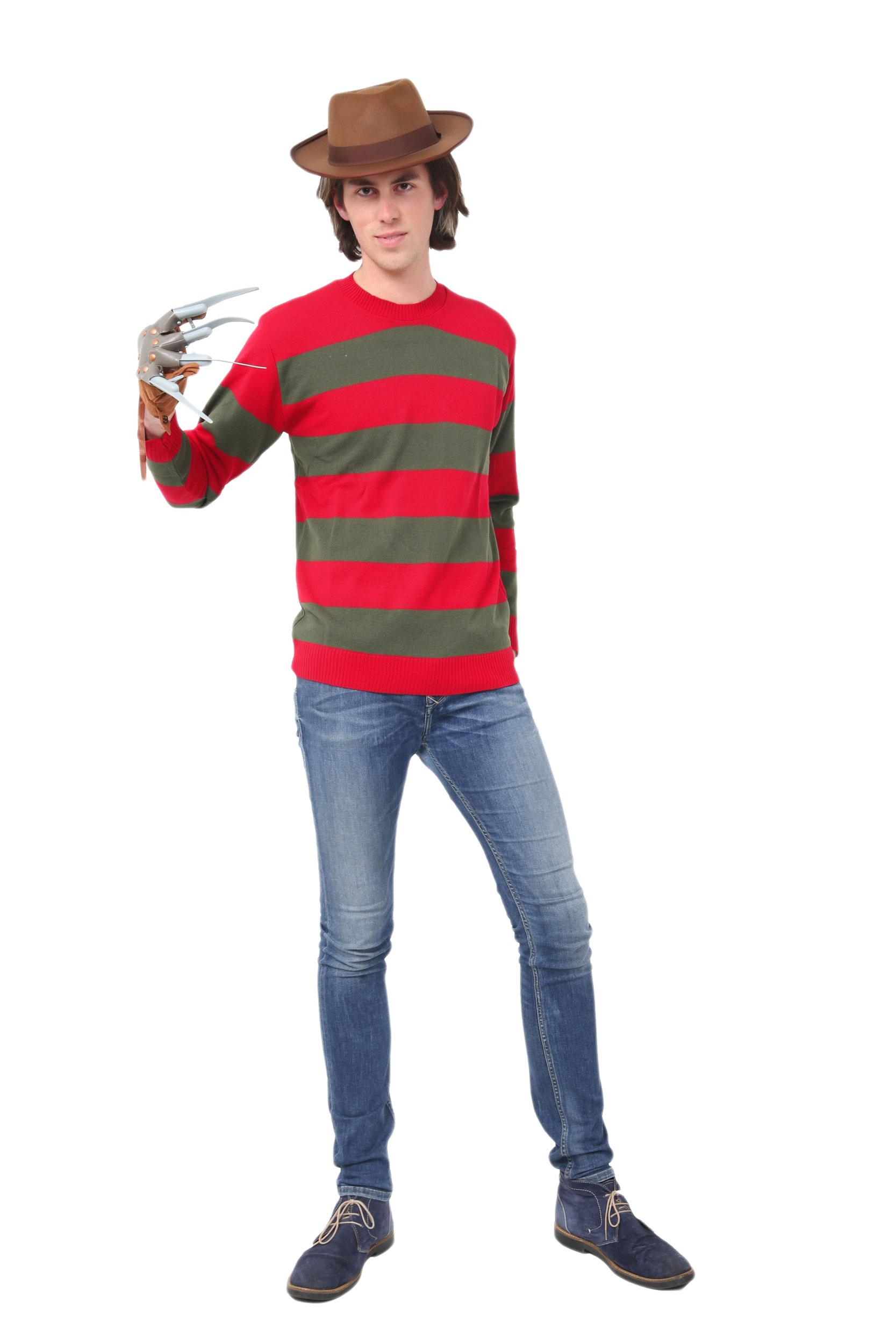 Men Red & Green Stripe Knitted Jumper